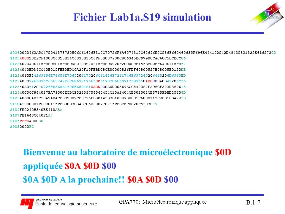Fichier Lab1a.S19 simulation
