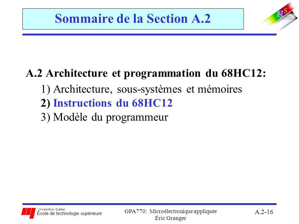 Sommaire de la Section A.2