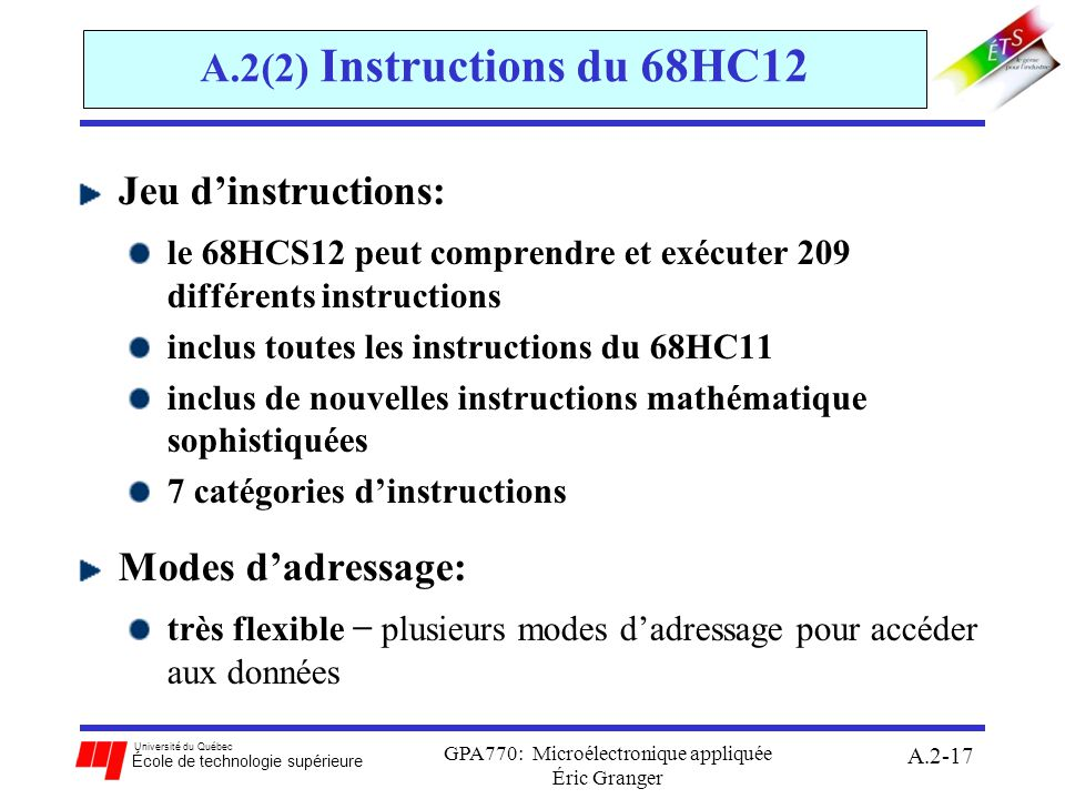 GPA770: Microélectronique appliquée