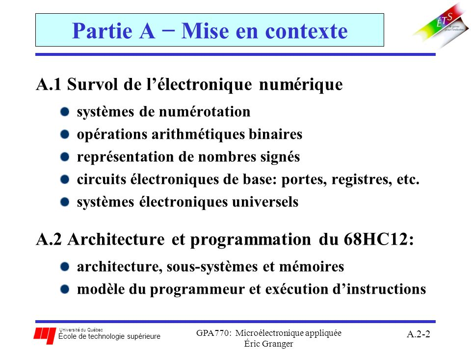 Partie A − Mise en contexte