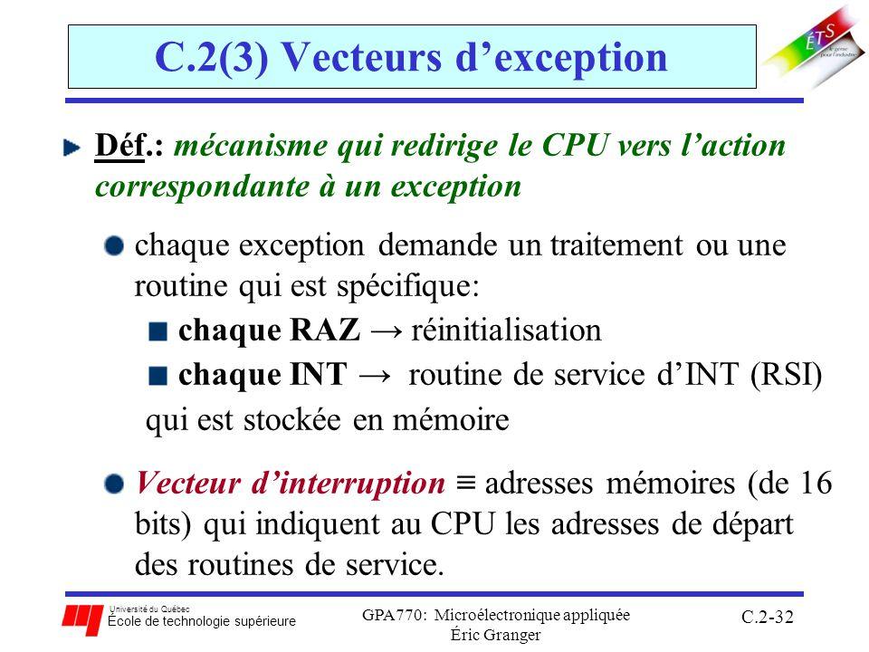 C.2(3) Vecteurs d'exception