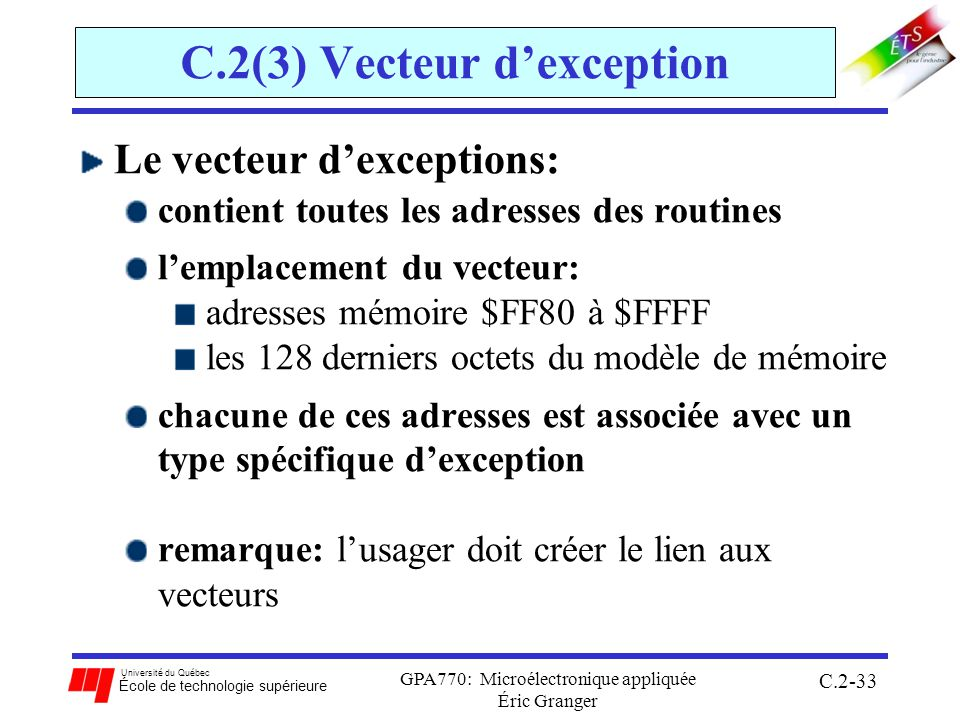 C.2(3) Vecteur d'exception