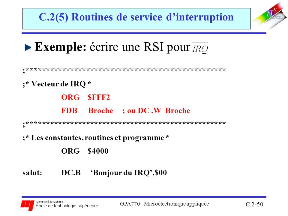 C.2(5) Routines de service d'interruption