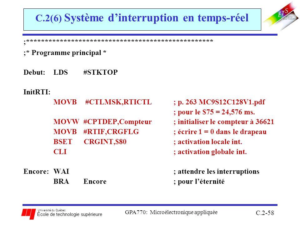 C.2(6) Système d'interruption en temps-réel