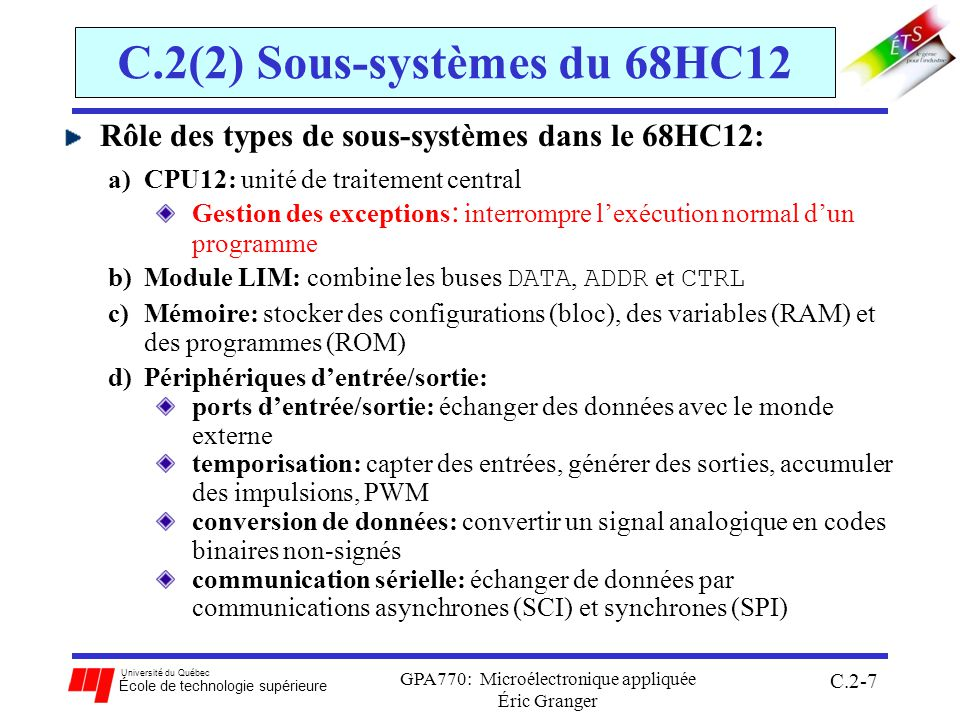 C.2(2) Sous-systèmes du 68HC12