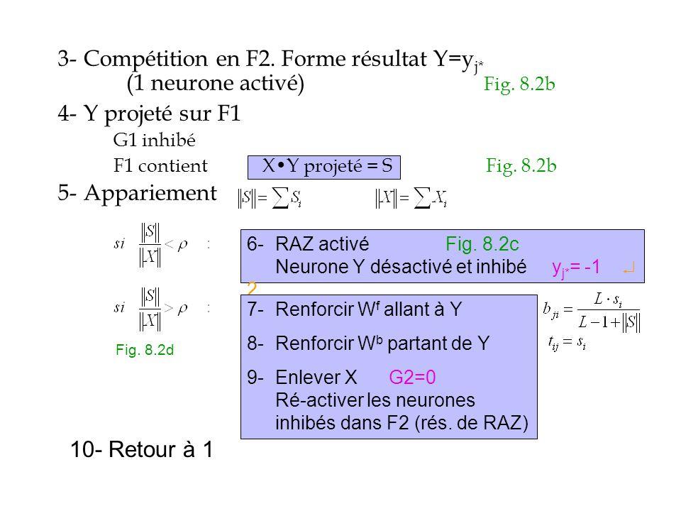 3-. Compétition en F2. Forme résultat Y=yj. (1 neurone activé). Fig. 8
