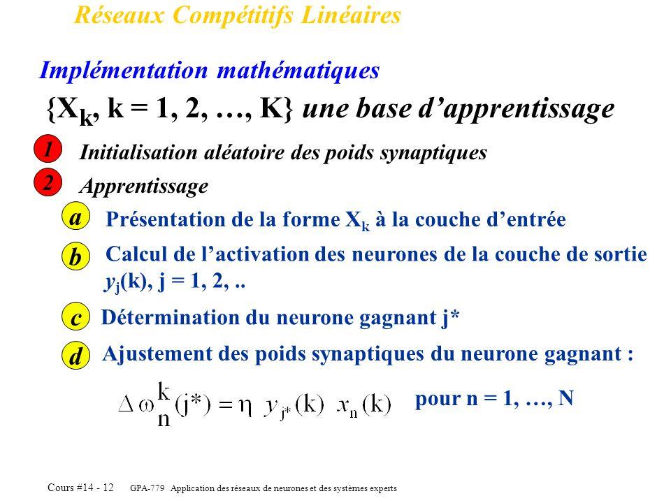 {Xk, k = 1, 2, …, K} une base d'apprentissage