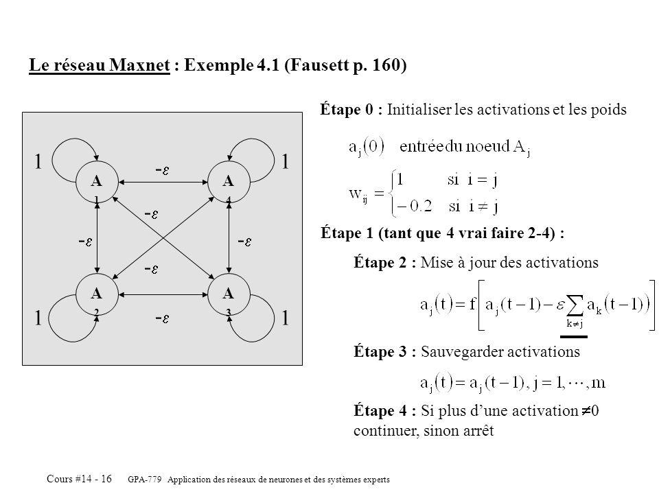 1 -e -e -e -e -e -e Le réseau Maxnet : Exemple 4.1 (Fausett p. 160)