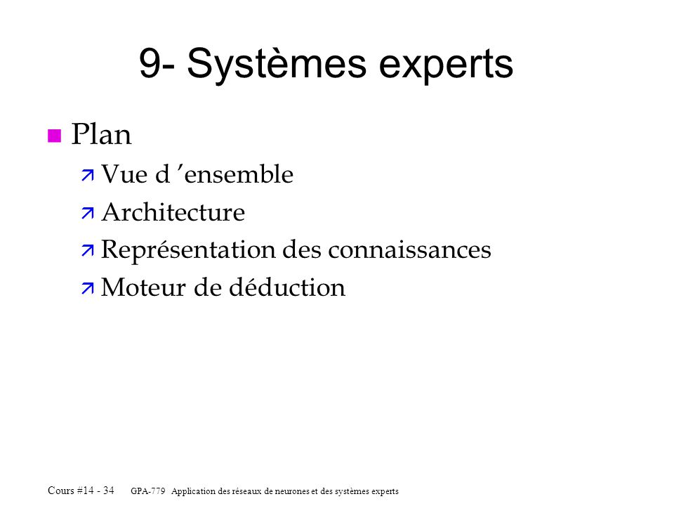 9- Systèmes experts Plan Vue d 'ensemble Architecture