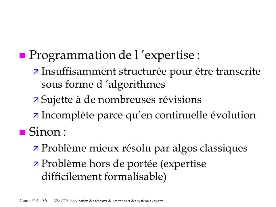 Programmation de l 'expertise :