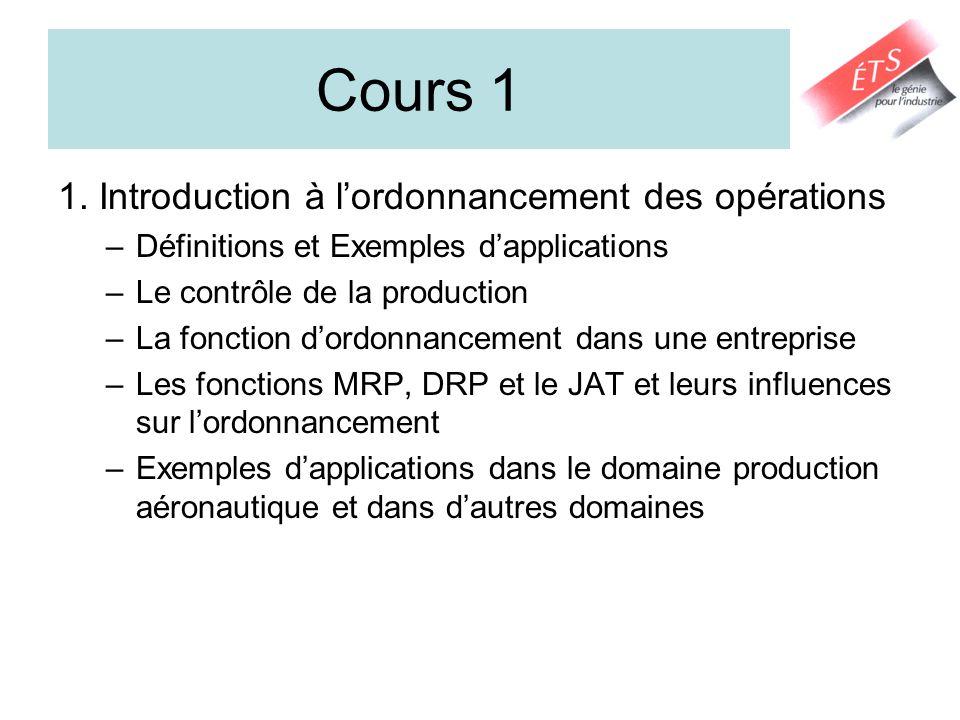 Cours 1 1. Introduction à l'ordonnancement des opérations