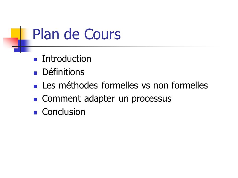 Plan de Cours Introduction Définitions