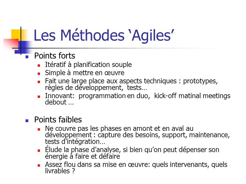 Les Méthodes 'Agiles' Points forts Points faibles