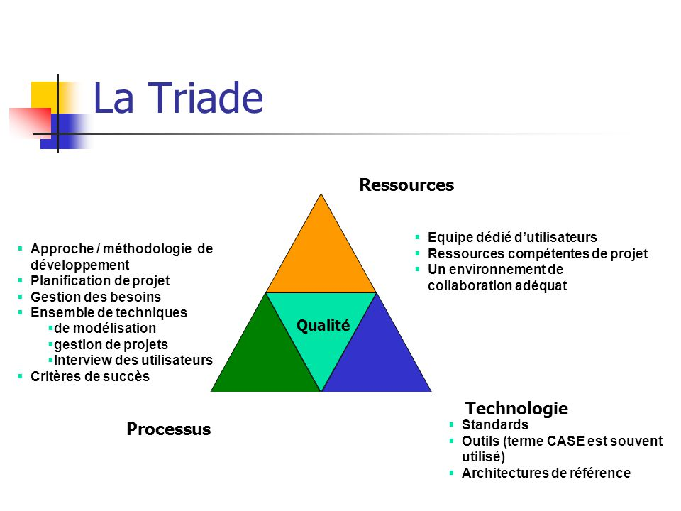 La Triade Ressources Technologie Processus Qualité