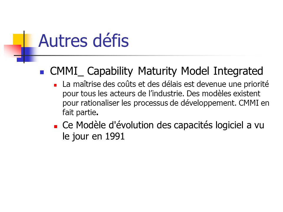 Autres défis CMMI_ Capability Maturity Model Integrated