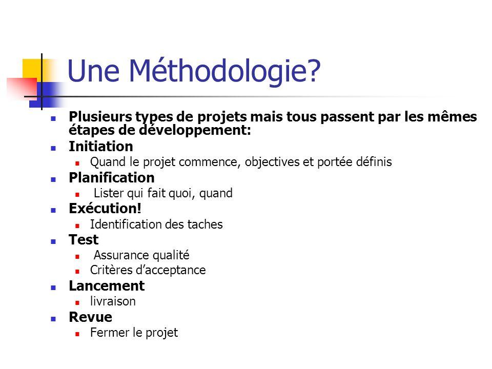 Une Méthodologie Plusieurs types de projets mais tous passent par les mêmes étapes de développement: