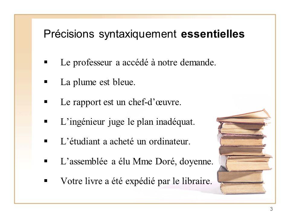 Précisions syntaxiquement essentielles
