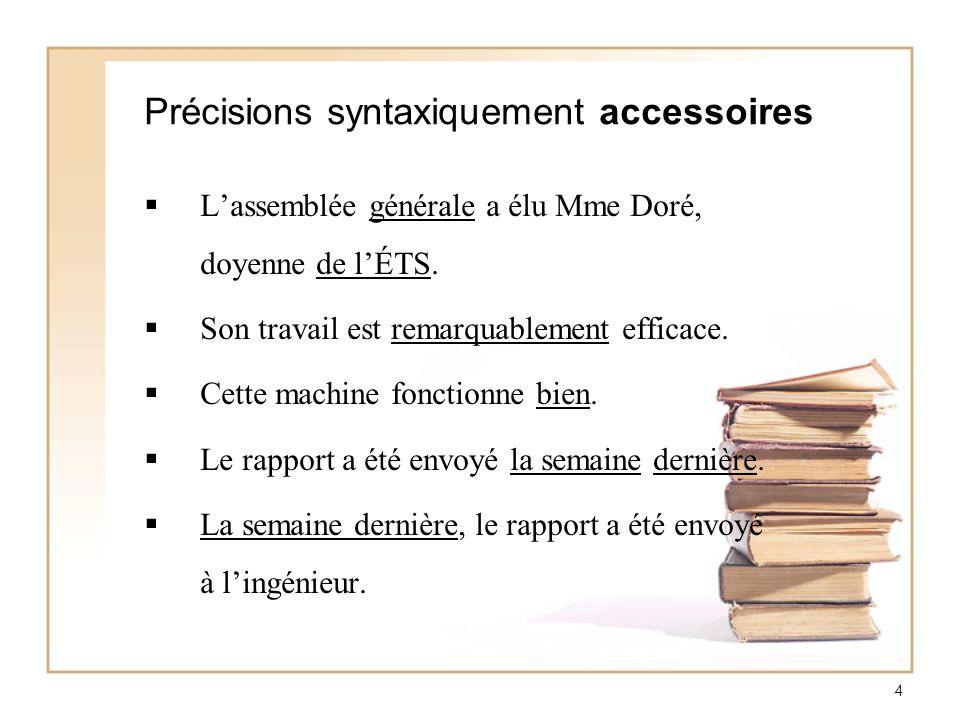 Précisions syntaxiquement accessoires