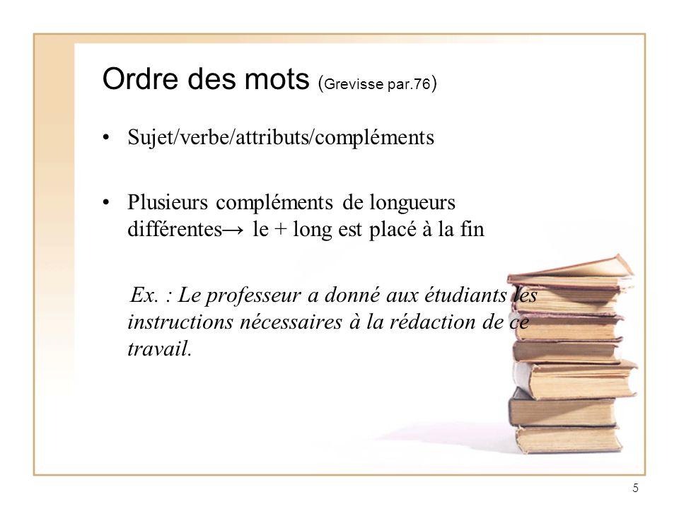 Ordre des mots (Grevisse par.76)