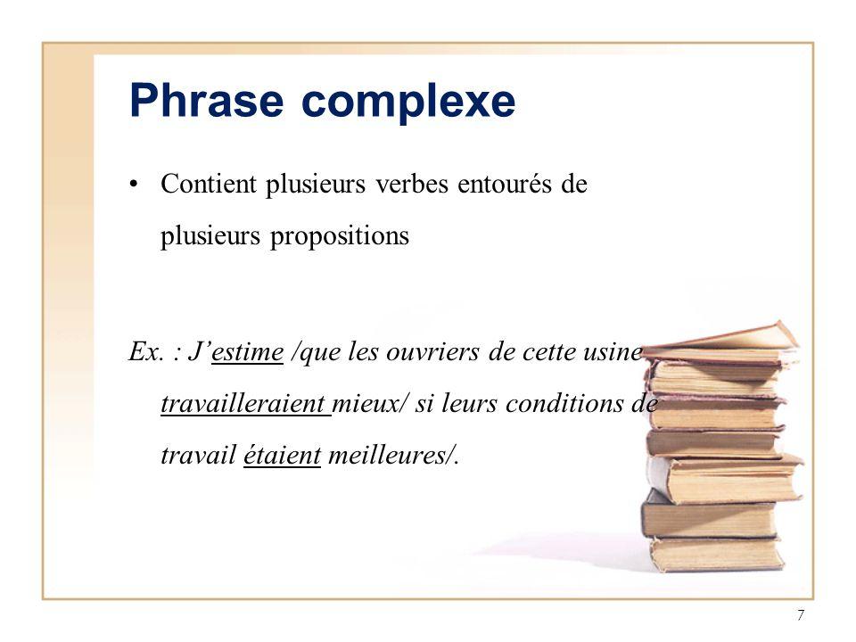 Phrase complexe Contient plusieurs verbes entourés de plusieurs propositions.
