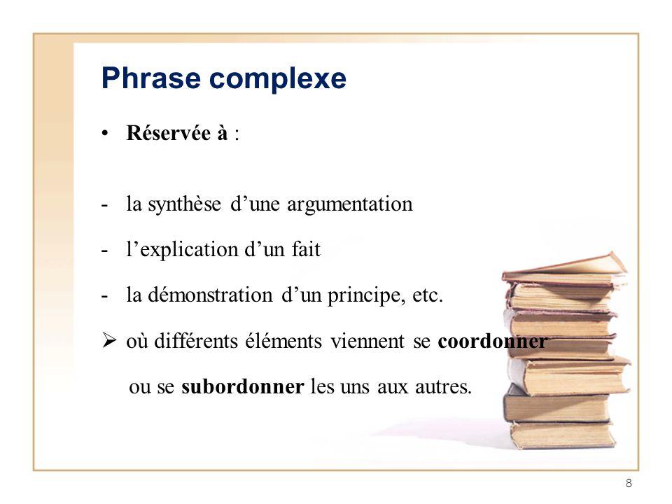 Phrase complexe Réservée à : la synthèse d'une argumentation