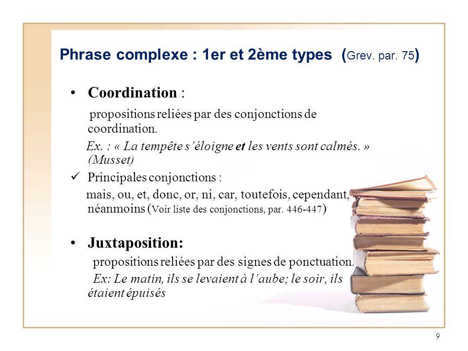 Phrase complexe : 1er et 2ème types (Grev. par. 75)