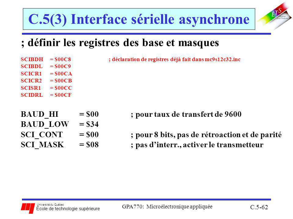 C.5(3) Interface sérielle asynchrone