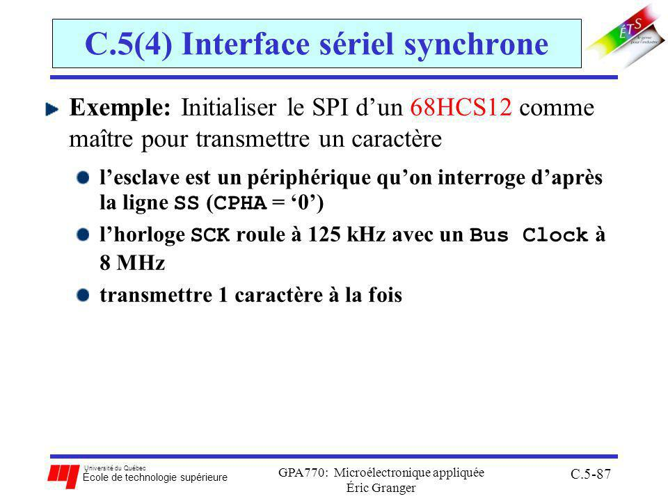 C.5(4) Interface sériel synchrone