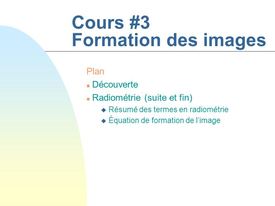 Cours #3 Formation des images