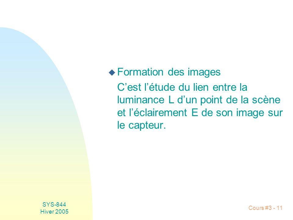 Formation des images C'est l'étude du lien entre la luminance L d'un point de la scène et l'éclairement E de son image sur le capteur.