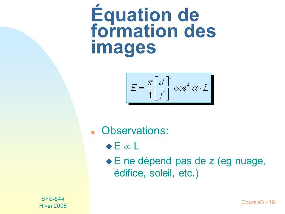 Équation de formation des images