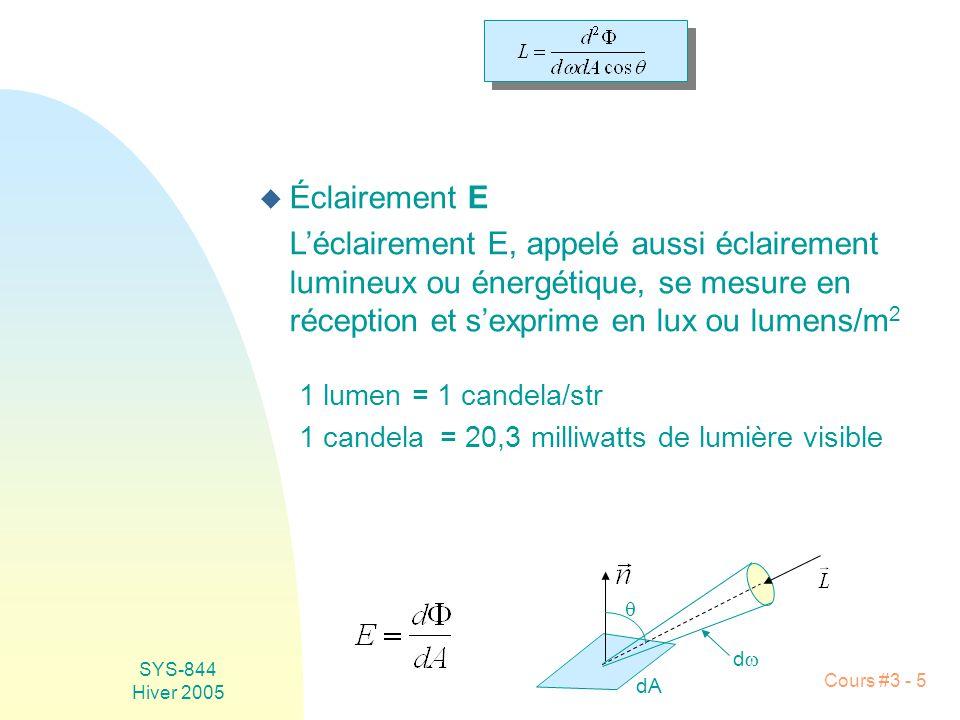 Éclairement E L'éclairement E, appelé aussi éclairement lumineux ou énergétique, se mesure en réception et s'exprime en lux ou lumens/m2.