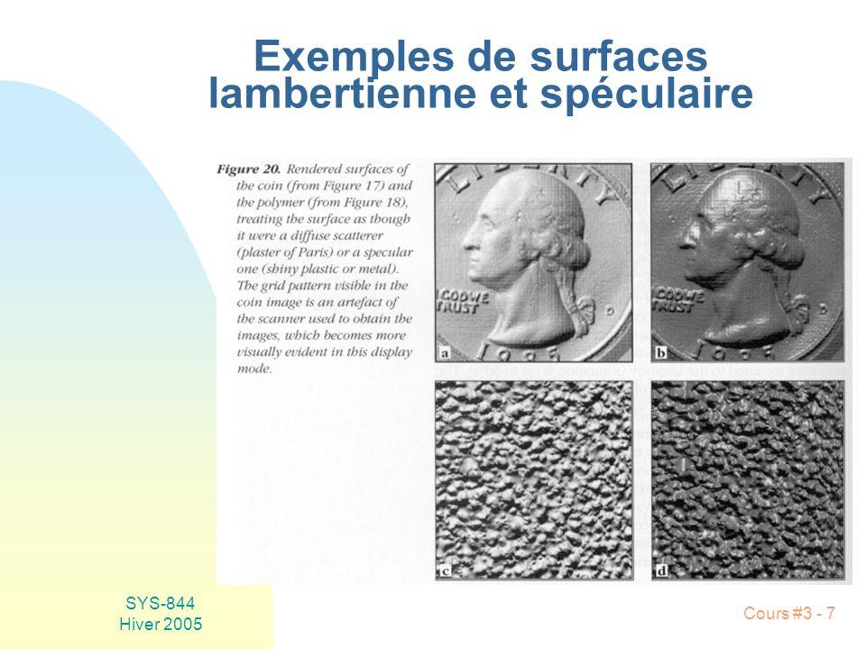 Exemples de surfaces lambertienne et spéculaire