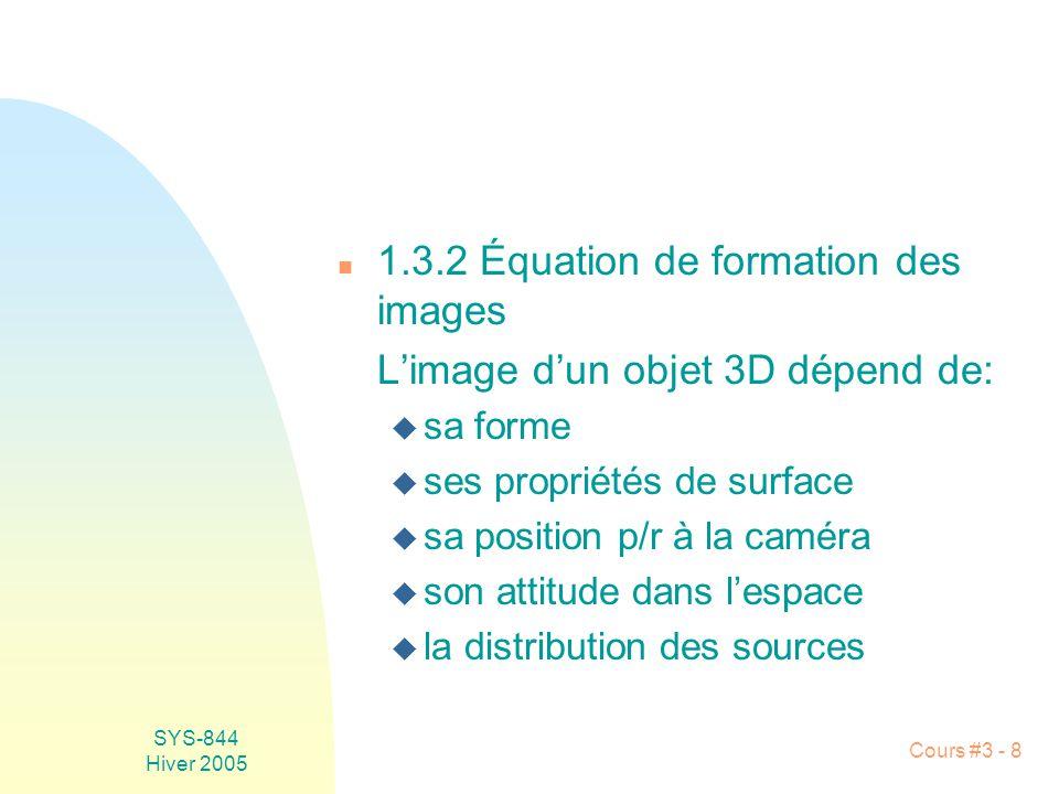 1.3.2 Équation de formation des images