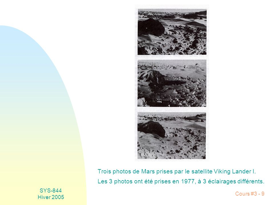 Trois photos de Mars prises par le satellite Viking Lander I.
