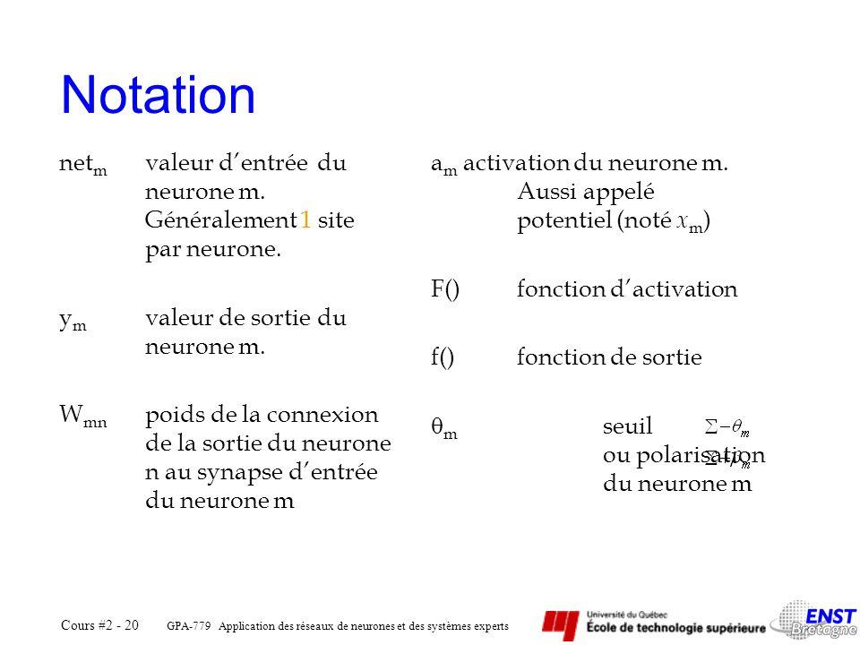 GPA-779 Notation. netm valeur d'entrée du neurone m. Généralement 1 site par neurone. ym valeur de sortie du neurone m.
