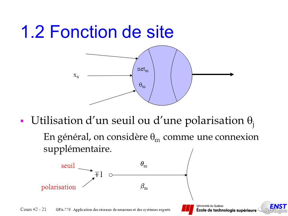 1.2 Fonction de site Utilisation d'un seuil ou d'une polarisation j