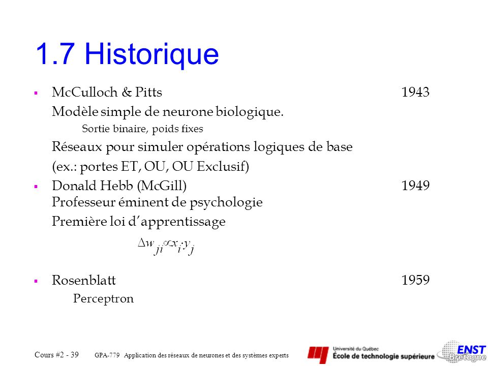 1.7 Historique McCulloch & Pitts 1943