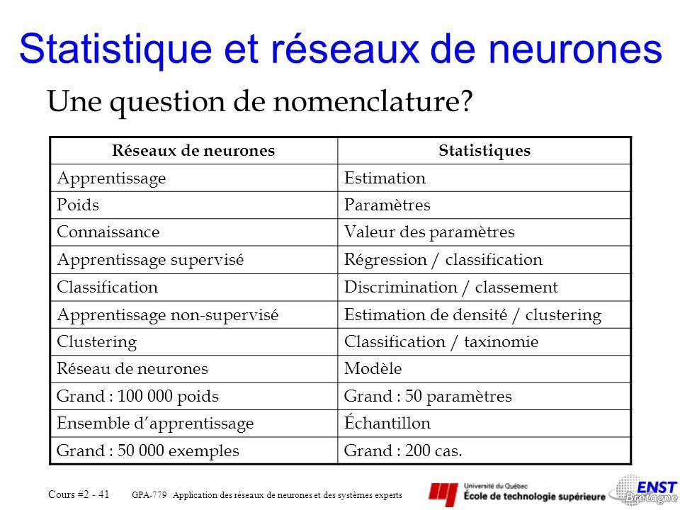 Statistique et réseaux de neurones