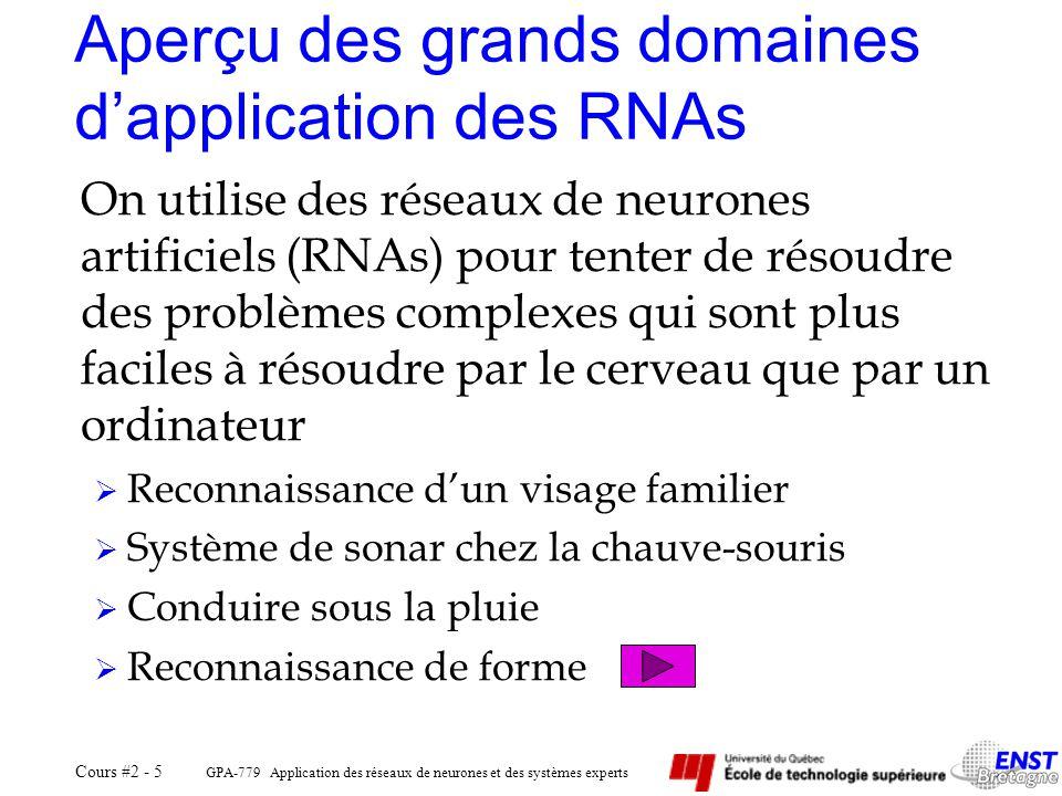 Aperçu des grands domaines d'application des RNAs
