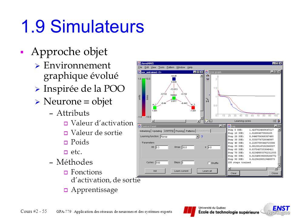 1.9 Simulateurs Approche objet Environnement graphique évolué