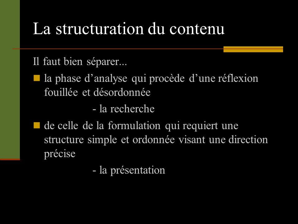 La structuration du contenu