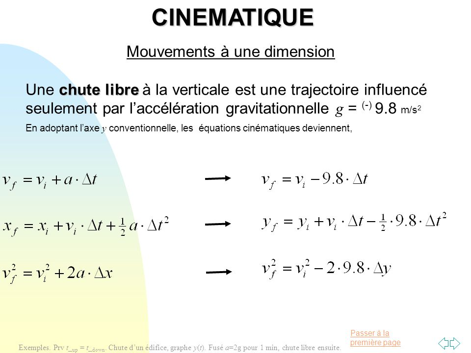 CINEMATIQUE Mouvements à une dimension