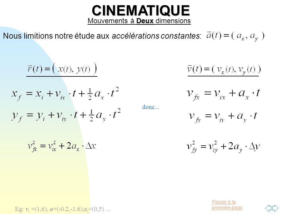CINEMATIQUE Nous limitions notre étude aux accélérations constantes: