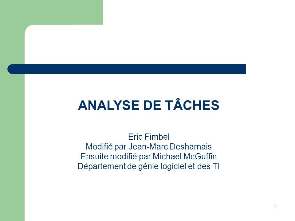 ANALYSE DE TÂCHES Eric Fimbel Modifié par Jean-Marc Desharnais