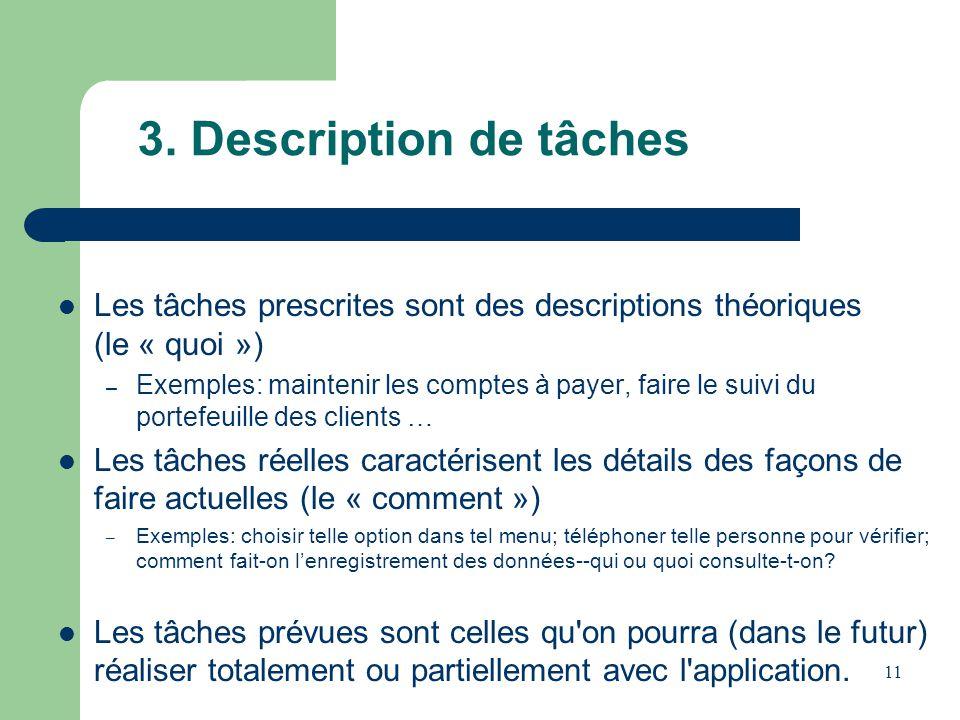 3. Description de tâches Les tâches prescrites sont des descriptions théoriques (le « quoi »)