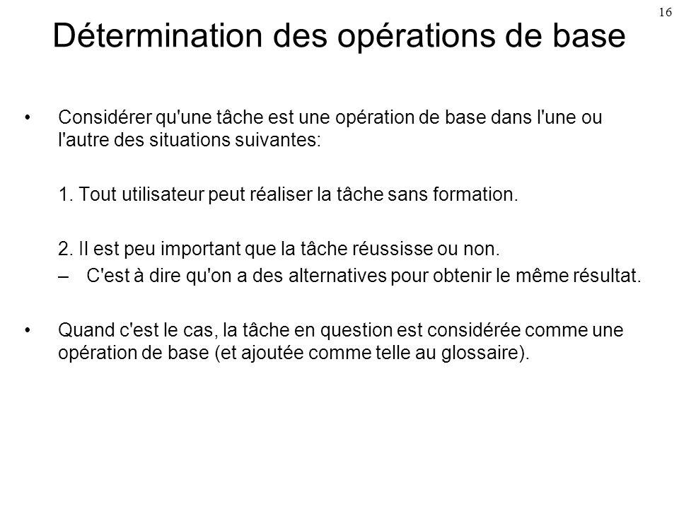 Détermination des opérations de base