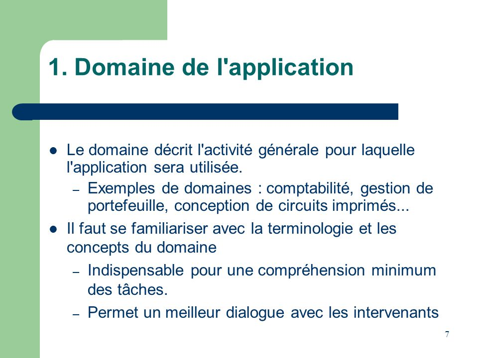 1. Domaine de l application