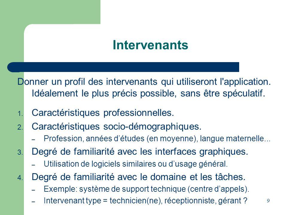 Intervenants Donner un profil des intervenants qui utiliseront l application. Idéalement le plus précis possible, sans être spéculatif.
