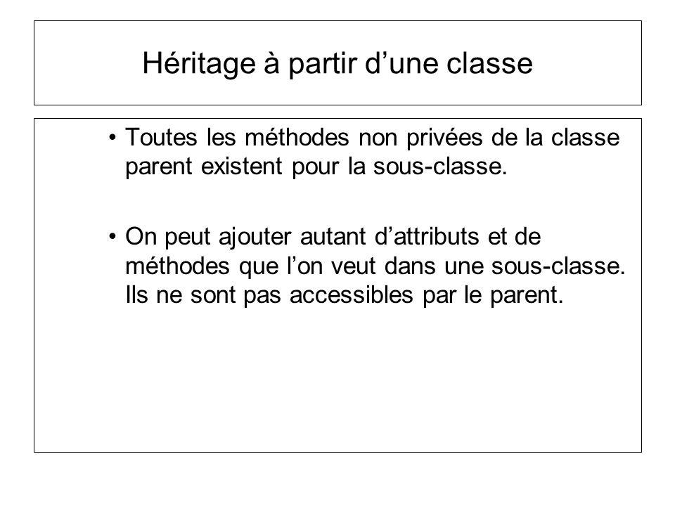 Héritage à partir d'une classe